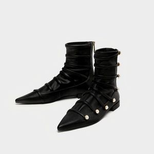 Zara Black Flat Ankle Booties with Pearls